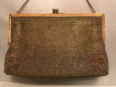 """Antique Classic Art Deco Metal Micro Beads """"Josef"""" French Hand Beaded Purse"""