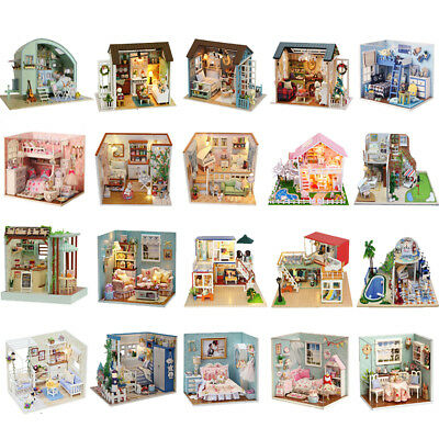 Wooden DIY Miniature Dolls House Furniture Construction Kits Kids Toy Xmas Gift