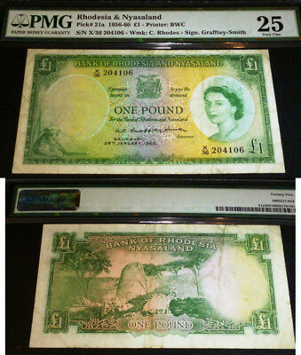 RHODESIA AND NYASALAND one pound 1960 - PMG VF 25