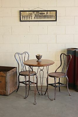 Vintage Antique Industrial Soda Fountain Cafe Table Japanned Copper Flash 1910s