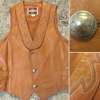 Vtg Pioneer Wear Embroidered Leather Vest Mens Size 42 Buffalo Nickel Buttons