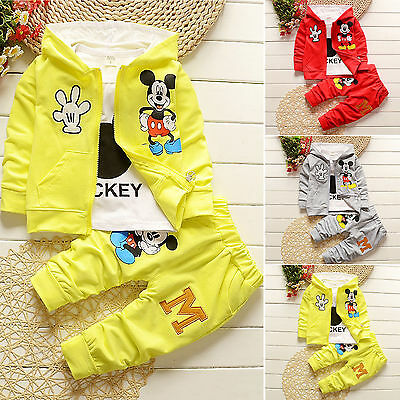 3pcs Kids Baby Boys Girls Mickey Hooded Coat+T-shirt+pants Clothes Outfits Sets