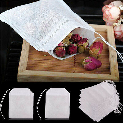 100x non-woven Empty Teabags String Heat Seal Filter Paper Herb Tea Bags
