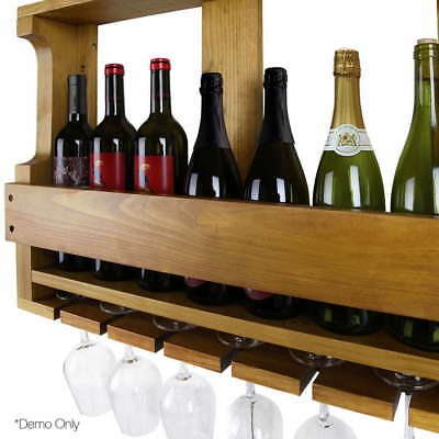 Wine Rack Timber Wall Mounted Bottles Wooden Storage Display Organise Portable
