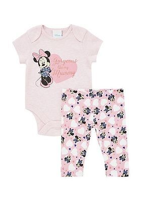 "DISNEYS ""MINNIE MOUSE"" SHORT SLEEVE BODYSUIT & LEGGINGS SET. 0-3, 3-6, 9-12m"