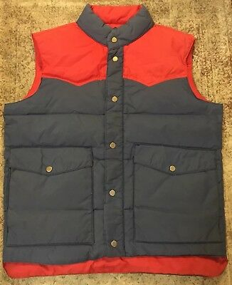 Vtg Puffy down by Envoy Ski Vest Medium Blue Red Waterfowl Feathers Puffer