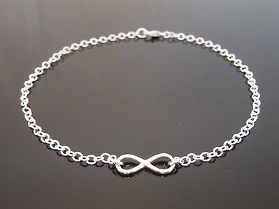 """3mm 925 Sterling Silver Anklet Ankle Chain With Infinity Charm Connector 10.5"""""""