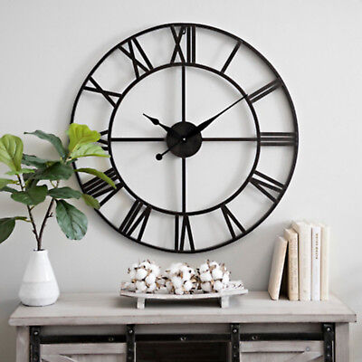 Large 78Cm Traditional Skeleton Vintage Style Roman Numerals Wall Clock Décor