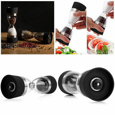 Deluxe Pepper Grinder 2in1 Manual Salt Pepper Mill Shaker Hourglass Design NEWAU