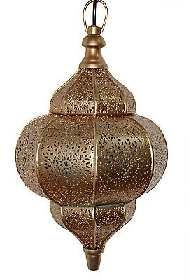 Antique Style Moroccan Hanging Pendant Swag Light Golden Metal Ceiling 12x7.5""