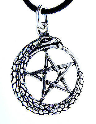 Pentagram Snake Guardian Magic 925 Sterling Silver Pendant with Band no. 48