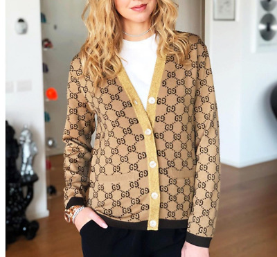 2018 Spring Occident V-neck Letter Jacquard Matching Knitting Cardigan Sweater