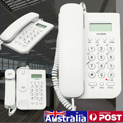 AU STOCK Desktop Home Wall Mount Office Corded Phone Caller Id Telephone Clock
