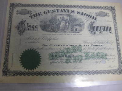 Antique 19th New Jersey Gustavus Storm Glass Company 10.00 Certificate