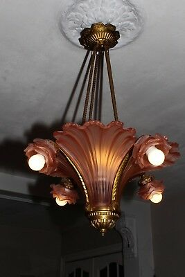 Antique bronze French Art Deco pink rose glass slip shade chandelier