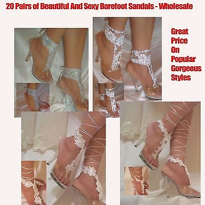 Women's Fashion 20 Pairs Of Beautiful Barefoot Sandals, Beach Sandals Wholesale