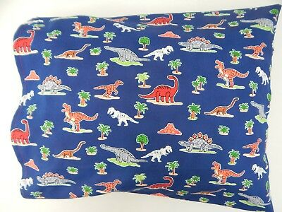 Child Toddler Cot Pillowcase - Dinosaurs on Navy  Blue - 100% Cotton Handmade