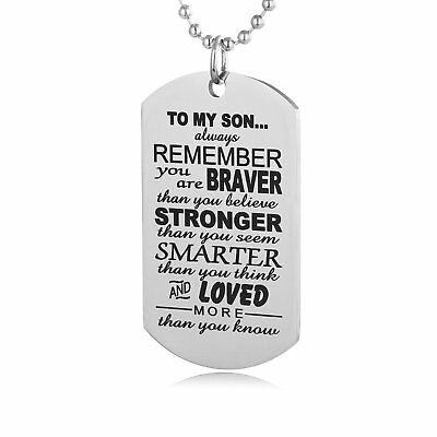 To My Son Always Remember Military Army Style Dog Tag Mens Pendant Necklace