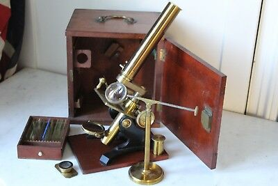 Lovely Complete Mahogany Cased Antique 19Th Century Bar Limb Microscope +++