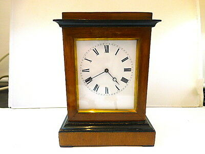 1880s FRENCH MAHOGANY 8-DAY MANTEL/CARRIAGE CLOCK IN EXCELLENT CONDITION