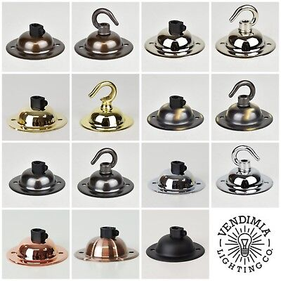 Mini Single Outlet Metal Ceiling Rose | Vintage Industrial | For Fabric Cable