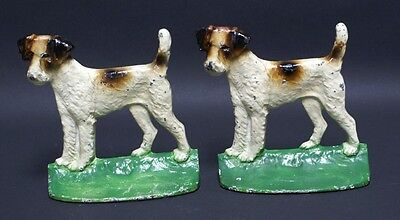 ANTIQUE FOX TERRIER DOG CAST IRON BOOKENDS ORIGINAL HUBLEY LABELS CIRCA 1930's