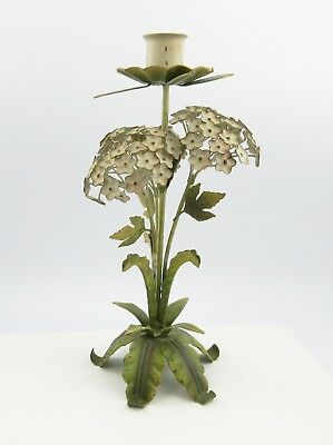 Vintage Italian Tole Metal Hydrangea Candlestick - 10.5 inches tall
