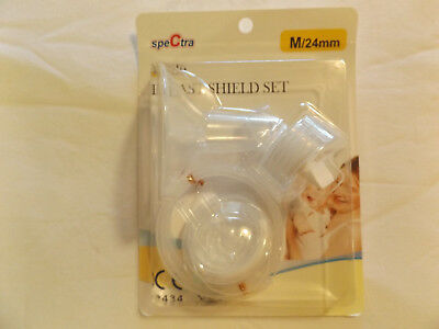 SALE!  Spectra WIDE BREAST SHIELD SET Sz M 24mm  - New - FREE SHIP NO Pump