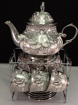 13pc Chinese Tea Sets - Tea Pot & 6 Cups & Saucers with Rack. Silver tone.