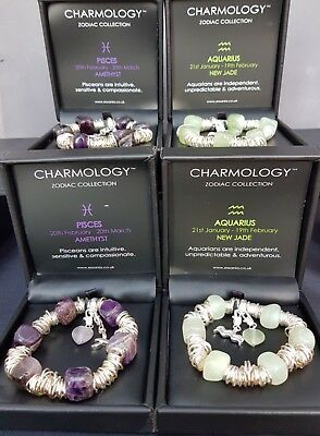 Job Lot Wholesale Gemstone Crystal Bracelets Birthstone Zodiac Silver Dip B223