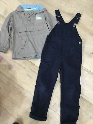 Boys navy Dungarees and spring coat age 3-4