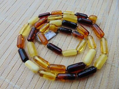 Natural Baltic Egg Yolk Honey Multicolored Amber stones Necklace