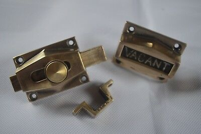 Vintage Vacant - Engaged Toilet Lock 1930s Art Deco Brass