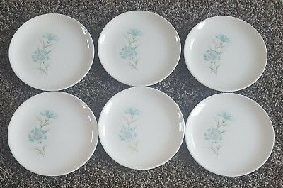 """6 Vtg Taylor Smith & Taylor Ever Yours Boutonniere 6.5"""" Bread & Butter Plates"""