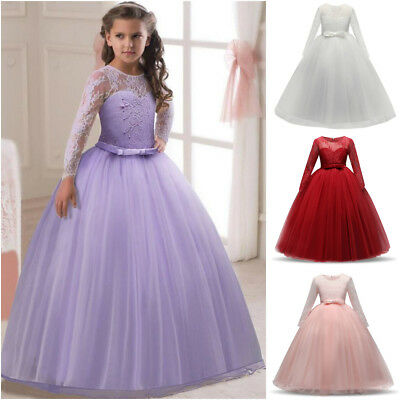New Long Sleeve Princess Wedding Girls Dress Tulle Bridesmaid Party Kids Clothes