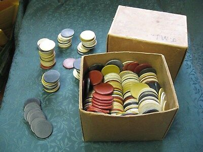 Antique Vintage Mixed Lot of 400+ Clay & Bakelite Poker Chips Embossed & Plain