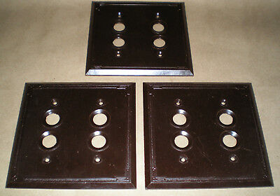 Lot of 3 Vintage Double Push Button Wall Light Switch Plate Cover Brown Bakelite