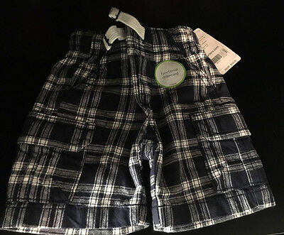 NWT Baby Boy Carter's Navy Plaid Cargo Shorts 3M 3 Months NEW MSRP $18.00