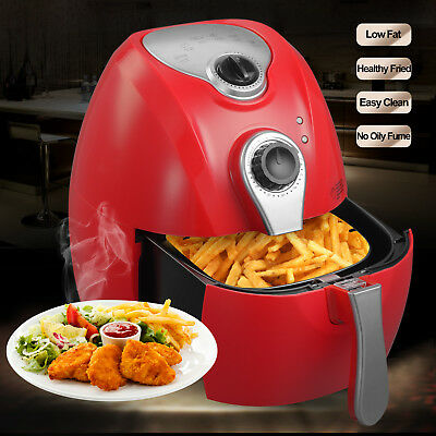 Red 1350W 2.7L Electric No Oil Air Fryer Temperature Control Timer for Kitchen