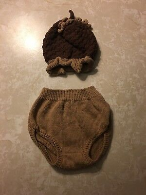 Newborn Baby Photo Prop Outfit Fall Thanksgiving Acorn Size S Small