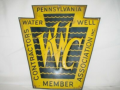 Vintage Rare 1954 PA Water Well Contractors Member Association porcelain sign