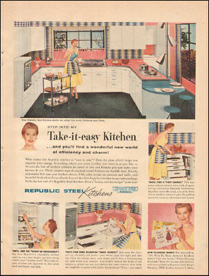 1955 Vintage ad for Republic Steel Kitchens`retro photo aprons fashion  (111817)