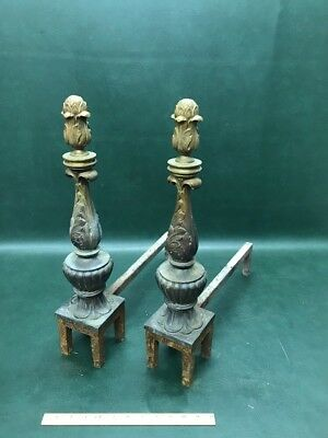ANTIQUE Ornate FRENCH, VICTORIAN Solid BRONZE FIREPLACE ANDIRONS For Restoration