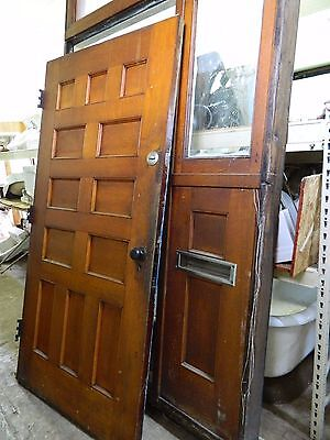 Antique Front Door Entryway, Architectural Salvage Entrance w/ Sidelight Transom