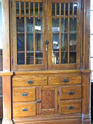 Antique Buffet Craftsman Sideboard, Built In Cabinets Mission Style Oak Hutch