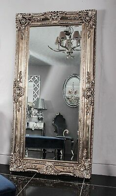 Silver French Shabby Chic Antique Style Rococo Wall Mirror Rectangular Large