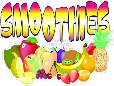 Fruit Smoothies Art Fun Vinyl Decal (Choose A Size) Fairs Stands Boardwalk Shops