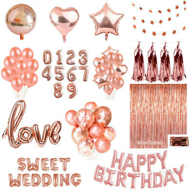 Rose Gold Series Foil Latex Balloon Set Helium Star Birthday Party Wedding Decor