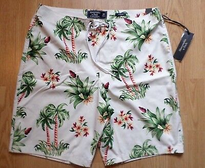 NWT Abercrombie & Fitch Mens Size 32 Tropical Palm Tree Classic Fit  Board Short