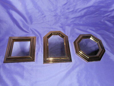 3 Vtg Homco Home Interior Gold Brassy Finish Accent Mirrors #2808